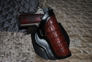 Valkyrie holster in crocodile skin, 1911 not included. Get your own pistol, pal.